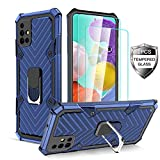 Samsung Galaxy A51 5G Case [2 x Tempered Glass Screen Protector] [ Military Grade ] 15Ft. Drop Tested Armor Protective Phone Case with Magnetic Car Mount Ring Kickstand for Galaxy A51 5G (Blue)