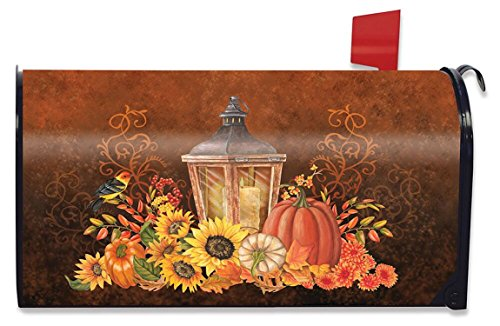 Briarwood Lane Fall Lantern Primitive Magnetic Mailbox Cover Pumpkins Sunflowers Standard