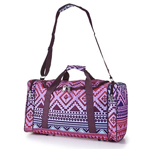 Women Carry On Lightweight Hand Luggage Flight Holdall Duffel Lady Girls Cute Sports Gym Bag Aztec Multicolour Black