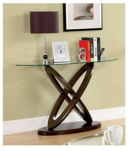 Oval Set Sofa Table - Beautiful Living Room Accent Contemporary Modern Mid-century Oval Glass Top Sofa Table