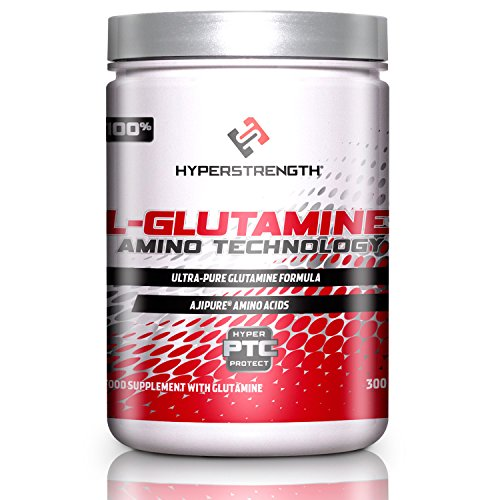 L Glutamine Powder, 300 Grams - Pure Pharmaceutical Grade - 5,000mg Per Serving - 60 Servings - by HyperStrength