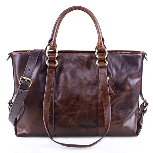 Satchel Fashion Leather For Ladies Handbags Coffee Vintage Tote Classic Caffee Shoulder Genuine Greeniris Women 0wqUCpxx