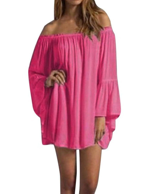 YJ-WAN Sexy Damen Kleid Schulterfrei Sommerkleid Shirt Tunika Tunikakleid Bluse Oberteil Damenbluse Kleider Minikleid Top Kurz Frühling Herbst Mini Dress EU 42-44
