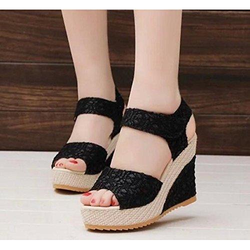 US8 Tacón Cuña Beige Sandalias Confort CN39 Negro UK6 para Negro Lace de ZHZNVX Primavera Verano de Zapatos UE39 Casual qX07zxZ