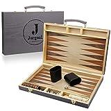 Juegoal 15 inch Wooden Backgammon Set, Portable Travel Folding Board Game