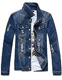 sandbank Men's Classic Button Slim Fit Ripped Washed Denim Jacket Jean Coat (Dark Blue, Small)
