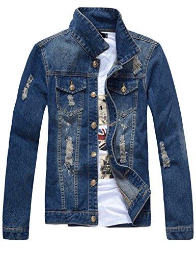 sandbank Men's Classic Button Slim Fit Ripped Washed Denim Jacket Jean Coat (Dark Blue, Small) by sandbank