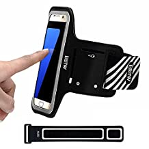 Galaxy S7 Armband, EOTW Sports Exercise Armband For Galaxy S7 S6 S5 S4 S3, iPhone 6/6s SE/5S/5/5C, Cell phone Armband For Running Jogging Gym Exercising With ID, Cards, Key And Cash (BLACK 5.1 Inch)