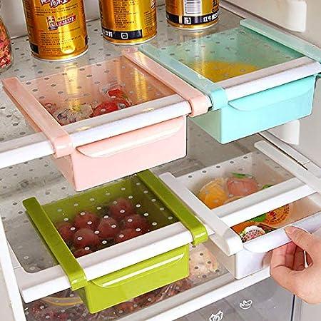 Winbang Caj/ón frigor/ífico cocina multifunci/ón Frigor/ífico Congelador Caj/ón de ahorro de espacio Organizador Caja de almacenamiento Estante Titular Azul