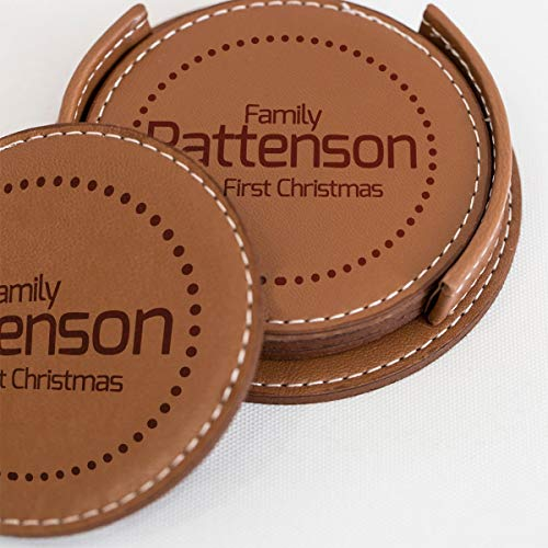 Warming Holiday Gifts - Personalized Leather Drink Coaster Set of 4 - Custom Laser Engraved Leather Coaster With Any Text-For Hot/Cold Drinks, Glasses, Wine, Beer, Pub, Bar (Brown - Family)