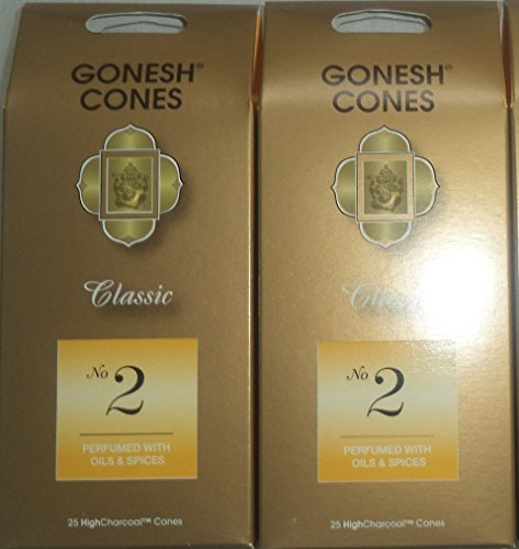 Gonesh Incense Cones #2 Oils and Spices - Set of 2 Packs of 25, Total 50 (Incense Cones Spices)