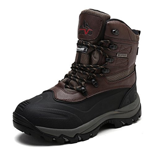 ARCTIVE 160443-M Men's Insulated Waterproof construction Rubber Sole Winter Snow Skii Boots Dark-Brown Size 11
