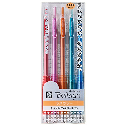 Sakura Gel Ink - Sakura Knock Gel Ink Ballpoint Pen, Ball Sign Knock, 5 Glitter Color Assorted (GBR158-5E)