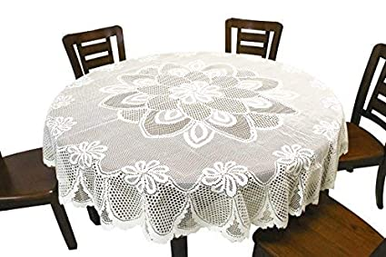 183 & GEFEII White Lace Tablecloth Crochet Table Linen Round Lace Table Covers for Kitchen Dinner Wedding Party Banquet Decoration 70 Inch