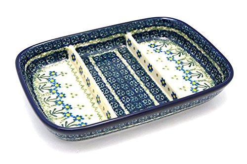 ポーランド陶器皿 - 分割された長方形 - ブルースプリングデイジー   B01LYBA5U1