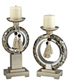 ORE International K-4238C Chrysanthemum Candleholders, Set of 2