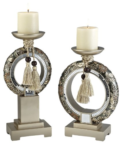 ORE International K-4238C Chrysanthemum Candleholders, Set of 2