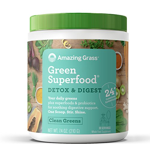 Amazing Grass Green Superfood Detox & Digest Organic Powder with Wheat Grass and Greens, 1 Billion Probiotics, Flavor: Clean Greens, 30 Servings