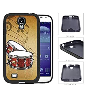 Drums And Musical Notes Brown Grunge Rubber Silicone TPU Cell Phone Case Samsung Galaxy S4 SIV I9500