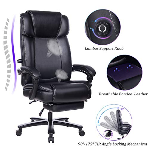 REFICCER Big and Tall Reclining Leather Office Chair