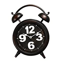 Adeco CK0041 Old World-Inspired Retro Iron Alarm Clock Style Wall Hanging or Table Clock with Oversize Numbers, Black
