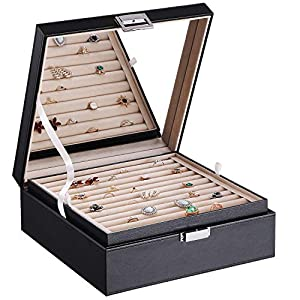 BEWISHOME Ring Organizer and Earring Box Holder – 11 Ring Slots, 25 Earring Compartments, Large Mirror, 2 Layers…
