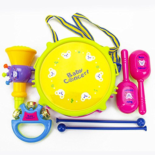 s/Set Baby Boy Girl Musical Instruments Drum Set Puzzle Educational Colorful Music Toys Kids Giftcolour:Trumpet [5 pcs A-PVC bag] (Drum Girl Instruments)