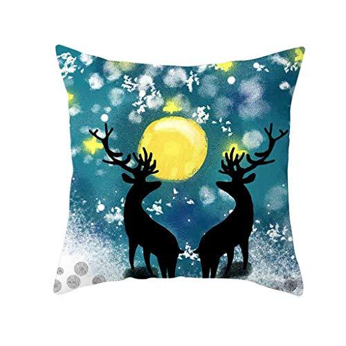 QBQCBB Polyester Elk Pillow Case Cover Sofa Car Throw Waist Cushion Cover Home Decor(L)
