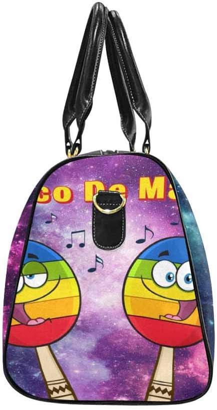 InterestPrint Carry-on Garment Bag Travel Bag Duffel Bag Weekend Bag Colorful Mexican Maracas Cartoon Mascot Characters