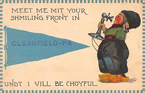 Clearfield Pennsylvania Dutch Child Telephone Pennant Flag Antique Postcard K96481