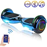 """SISIGAD Hoverboard Self Balancing Scooter 6.5"""" Two-Wheel Self Balancing Hoverboard with Bluetooth Speaker and LED Lights for Adult Kids Gift Chrome Color Hoverboard - Plating Dazzle Series"""
