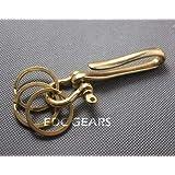 FidgetFidget Belt Hook with Shackle Ring Brass Fishhook Keychains Suite Solid Vintage DesignL + Shackle + 3pcs 30mm Ring