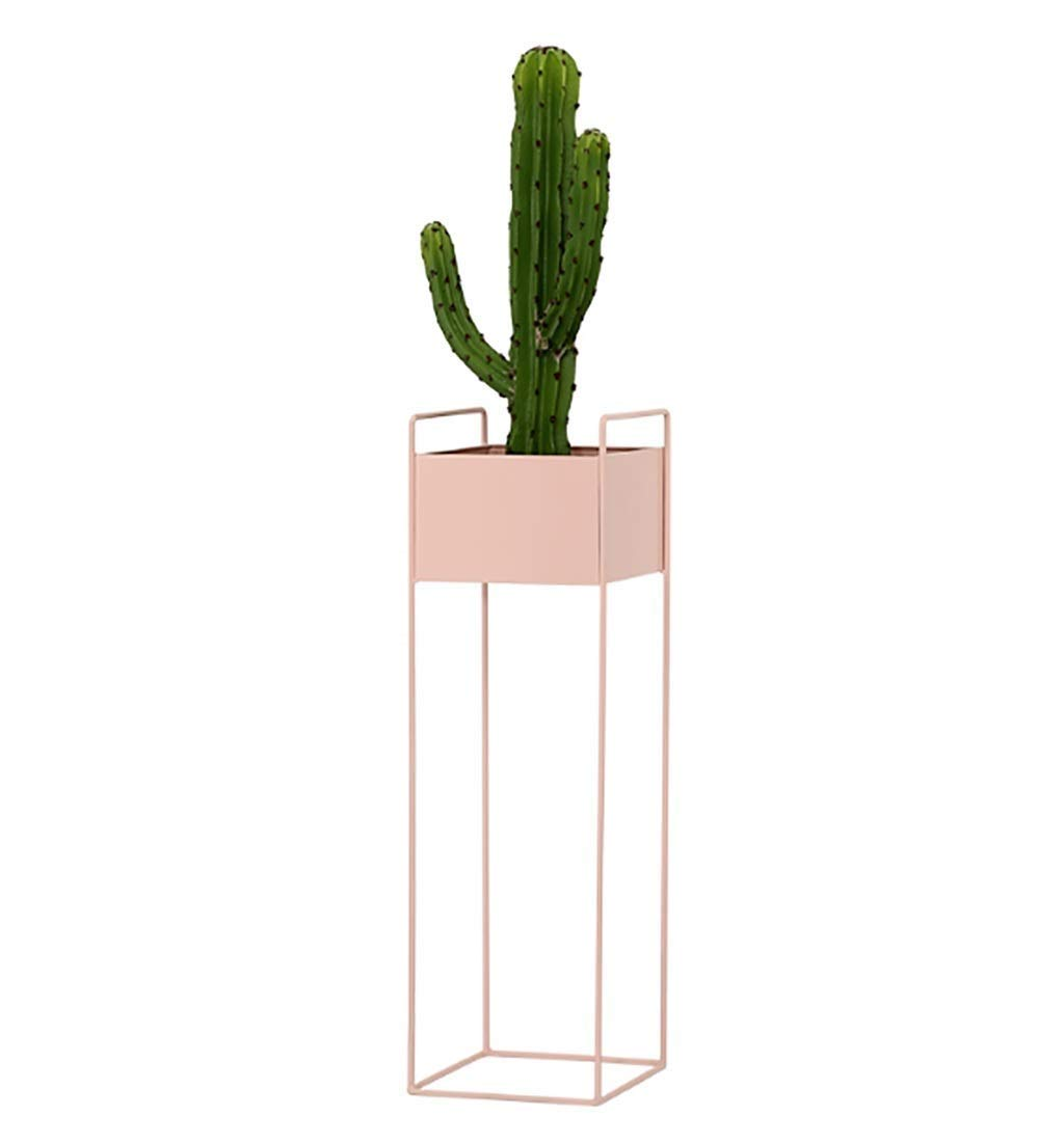 RUIMA Iron Flower Stand Modern Minimalist Living Room Interior Floor Decoration Green Rose Balcony Plant Green Flower Pot Shelf (Color : Pink)