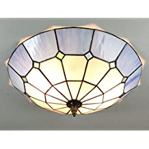 16-Inch European Retro Style Tiffany Mediterranee Blue Stained Glass Flush Mount Ceiling Light Dining Room Light