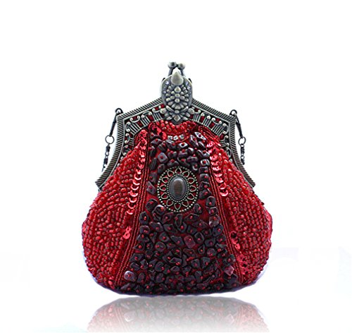 Female Embroider Purse ULKpiaoliang Evening Wedding Women red Phone Bridal Vintage Beads Banquet Handmade Handbags Bags Clutch Party FzdqxwdC
