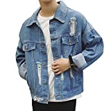 AOMO LOVE Men Casual Classic Batman Denim Jacket Loose Ripped Jean Jacket (Blue, Large)