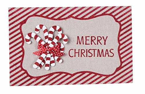 Red and White Striped Merry Christmas Holiday Signs Wall Hanging Christmas Decorations (Candy Canes) ()