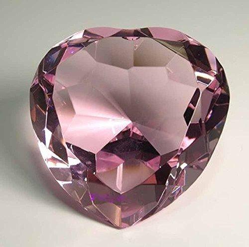 - Diamond Jewel Paperweight 100mm Pink Heart Shaped Cut