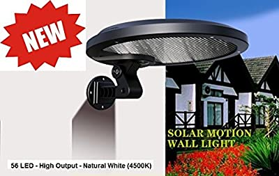 Solar Mini Streetlight - 56 LED - 5 Watt Solar Powered Security Motion Sensor Light - Wall, Garage, Patio, Gutter, Fence Mount -Security Night Light (Warm White)