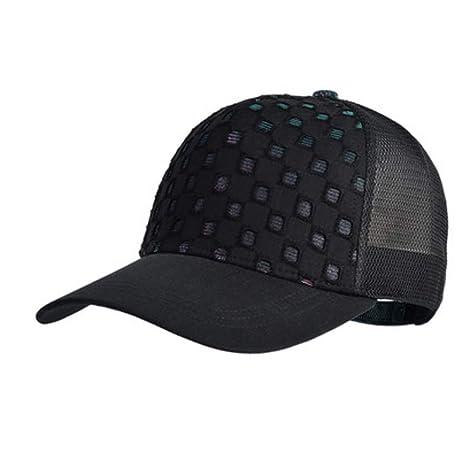 XJYA Hueco Negro Gorra de Beisbol Sombrero de Sol Cola de Caballo ...