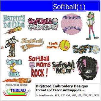 Amazon Com Threadart Machine Embroidery Designs Softball