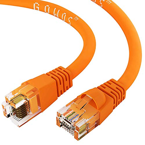Cord 10ft Patch Green Cat5 (GOWOS Cat6 Ethernet Cable (25 FT - Orange) 24AWG Network Cable with Gold Plated RJ45 Snagless/Molded/Booted Connector - 10 Gigabit/Sec High Speed LAN Internet/Patch Cable - 550MHz)