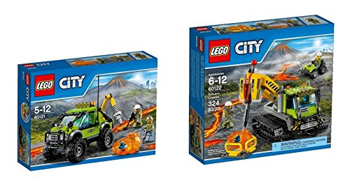 LEGO 60122 + 60121 Volcano Crawler Construction Set + Exploration Truck Building