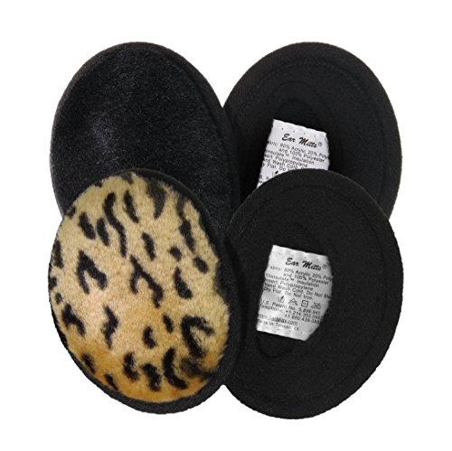2 Pack Ear Mitts Bandless Warm Faux Fur Ear Muffs, Black Mink & Leopard, Small