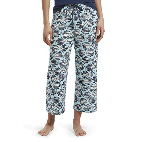 HUE Women's Printed Knit Capri Pajama Sleep Pant, Plume - Kissing Fish, Extra Large