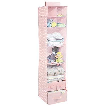 mDesign Organizador colgante con 7 estantes y 3 cajones – Armario perchero de tela con estampado de lunares – Colgador para zapatos ideal para el ...