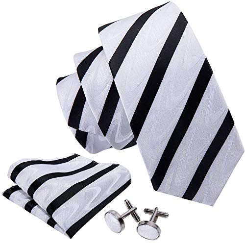 (Tie Set Black and White Stripe Ties Handkerchief Cufflinks Silk)