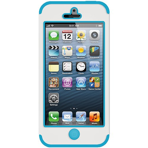 Amzer Flora Hybrid-Schutzhülle für iPhone 5, Weiß / Türkis