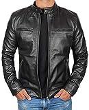 Genuine Lambskin Black Leather Jacket for Men | [1100123] Dodge - M
