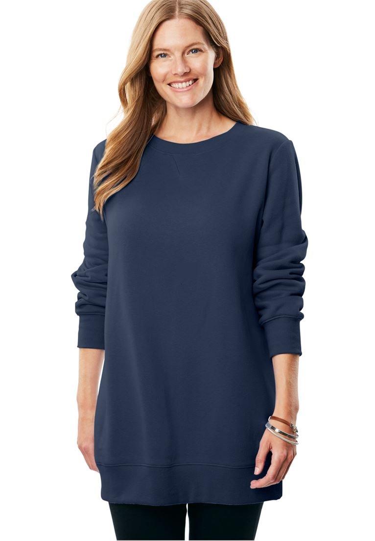 Women's Plus Size Fleece Sweatshirt Navy,L